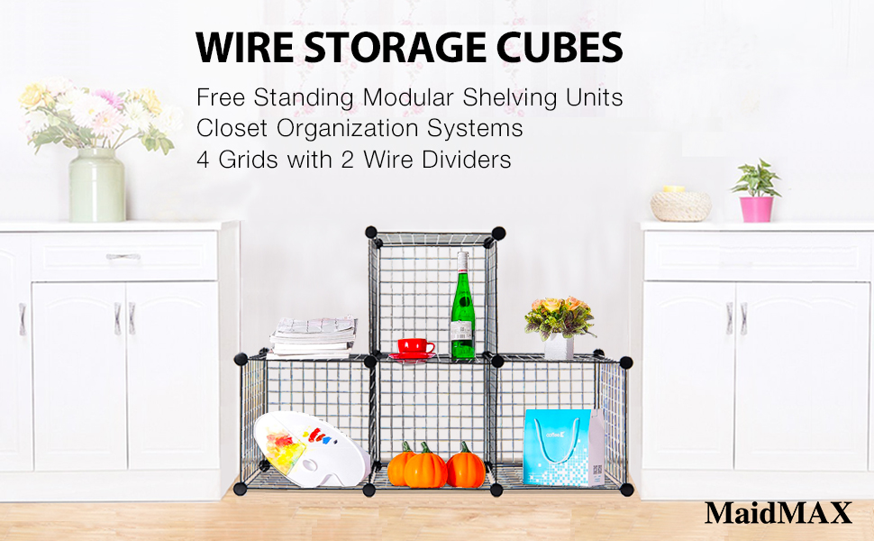 wire storage cubes maidmax free standing. Black Bedroom Furniture Sets. Home Design Ideas