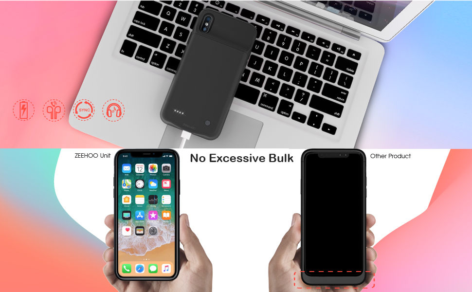 huge discount a68c4 4bc98 ZeeHoo 3200mAh Slim Charging Case for iPhone X/iPhone 10 (5.8-inch)  Protective Charger Case Extended Battery Pack, Compatiable with Lightning  ...