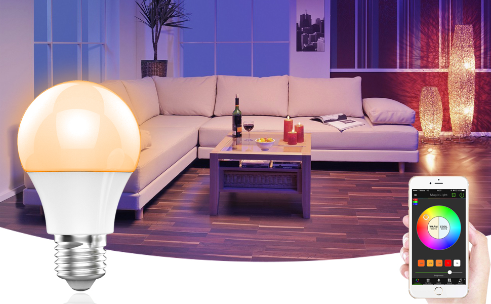 MagicLight Bluetooth Smart Light Bulb - Dimmable Multicolored Disco ...