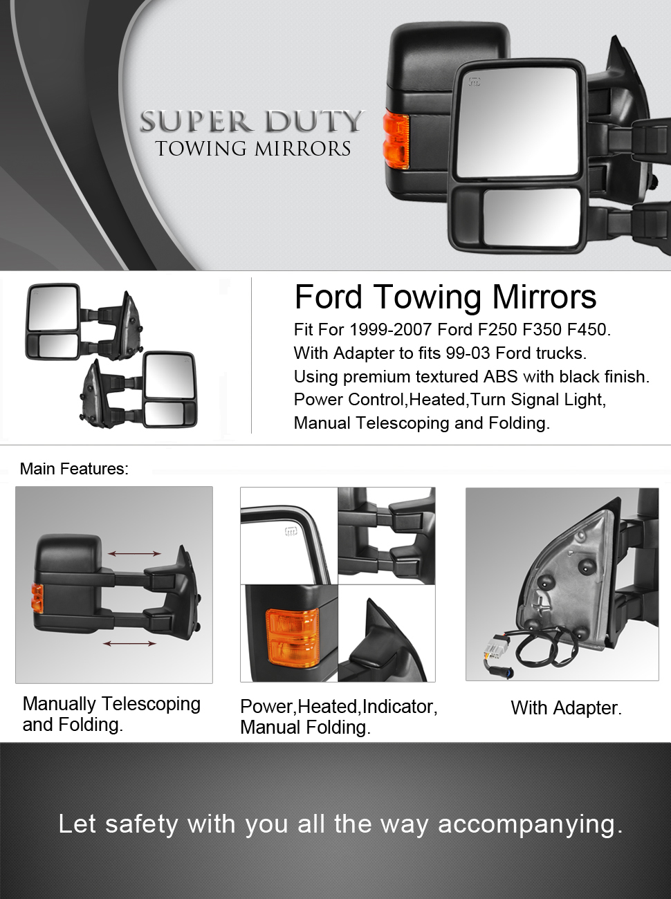 amazon com dedc ford towing mirrors f250 ford tow mirrors f350 f450dedc ford towing mirrors f250 ford tow mirrors f350 f450 pair for 1999 2007 side mirror power heated with signal light (upgrade to 08 superduty retrofit)