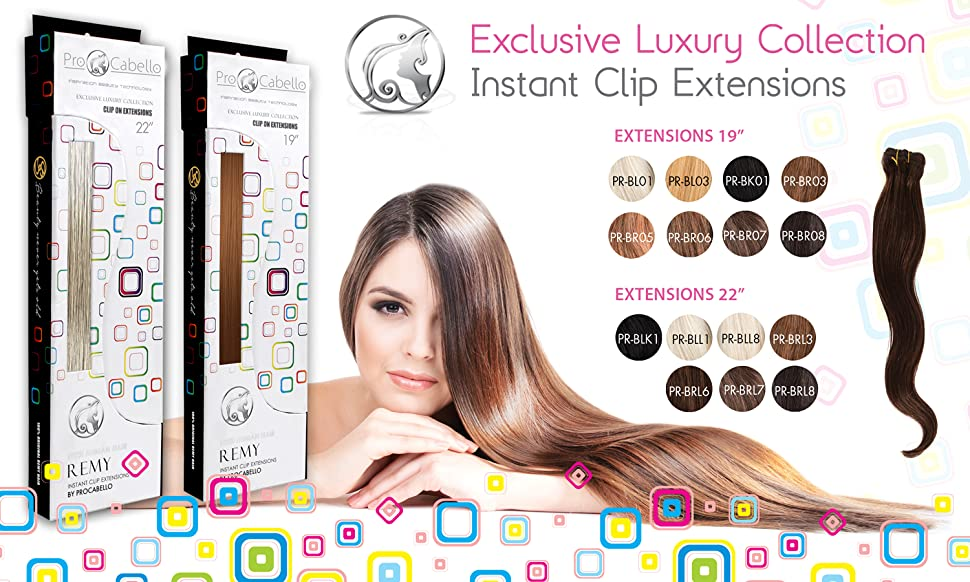 Amazon pro cabello 22 hair extensions true black beauty procabello clip on hair extensions deliver salon quality results in no time flat seven different snap clips allow you to make your hair look as full bodied pmusecretfo Image collections