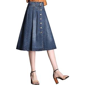 d2a088220 Nantersan Womens Button Front Midi Denim Jean Skirts High Waist A ...