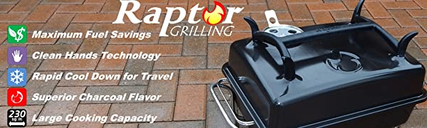 Raptor Grilling portable tabletop charcoal camping grill char broil travel beach hibachi webber go