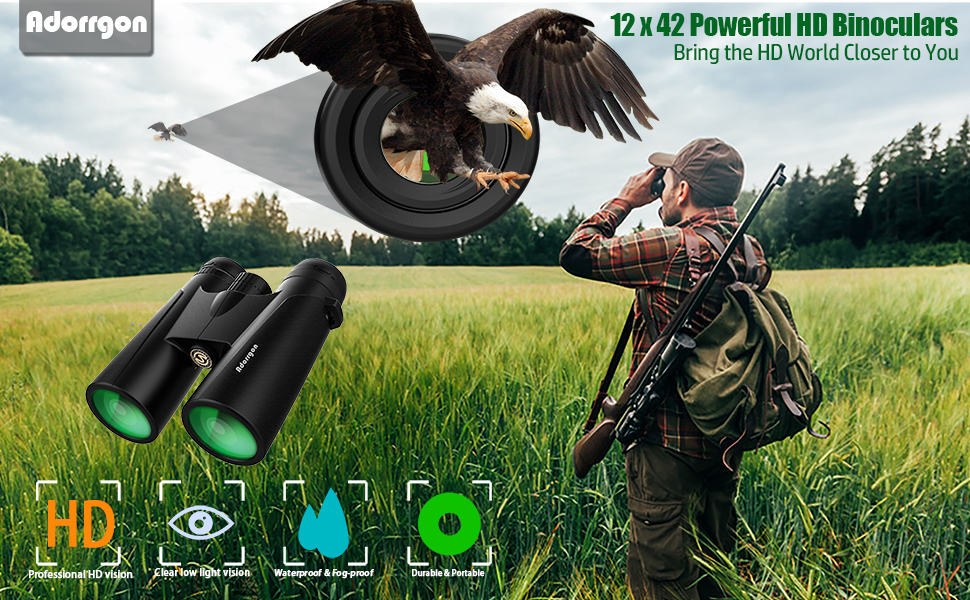 12 x 42 powerful HD binoculars