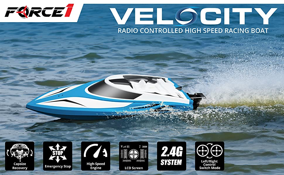 Details About Force1 Rc Boat Pool Toys H102 Velocity High Speed Remote Control