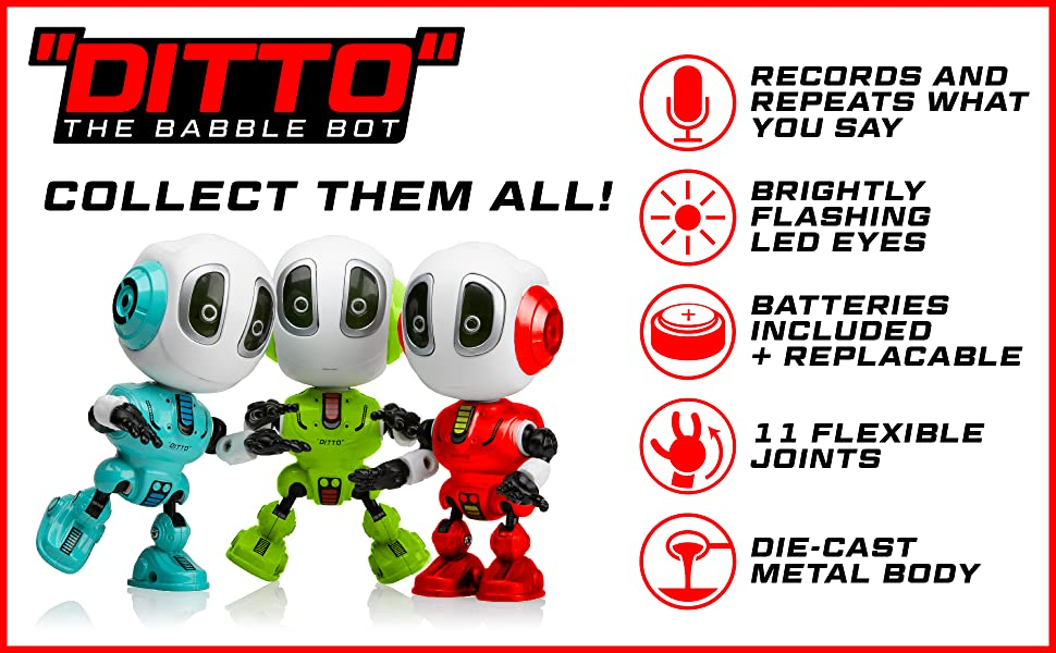 Amazon.com: USA Toyz Toy Robots for Boys or Girls – Ditto Mini Talking Robots for Kids w/ Posable Body, LED Light Up Toys Interactive Voice Changer Robot Travel Toys (Red): Toys & Games