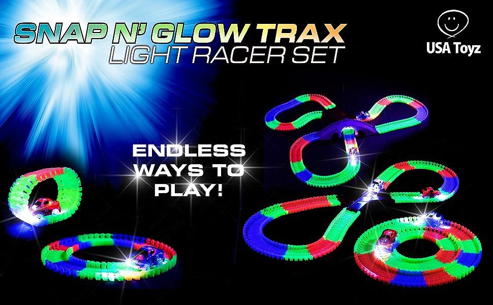 c363006fba97 Amazon.com  Glow Race Tracks for Boys – 360pk Flexible Glow in The ...