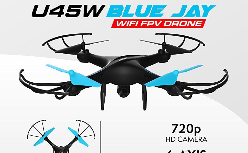 Dron Wi-Fi FPV U45W Blue Jay con cámara HD de 720p, despegue/aterrizaje con 1 switch, retención de altitud, modo sin cabeza + modo de vuelo personalizado en ...