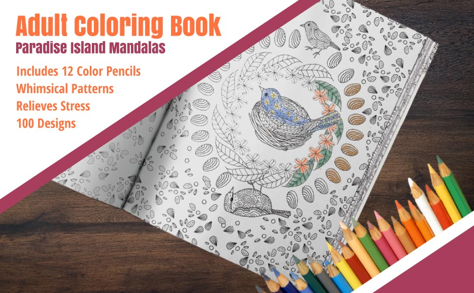 Paradise Island Adult Coloring Book Set By Jane Hayes With 12 Staedtler Colored Pencils