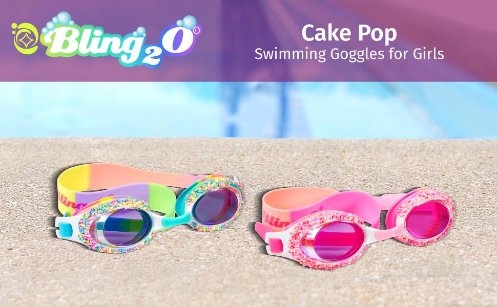 Bling 2O Kids Swimming Goggles Anti Fog Non Slip Cat Whisker and Eye Lash Swim Goggles for Girls 8+ UV Protection with Hard Travel Case No Leak