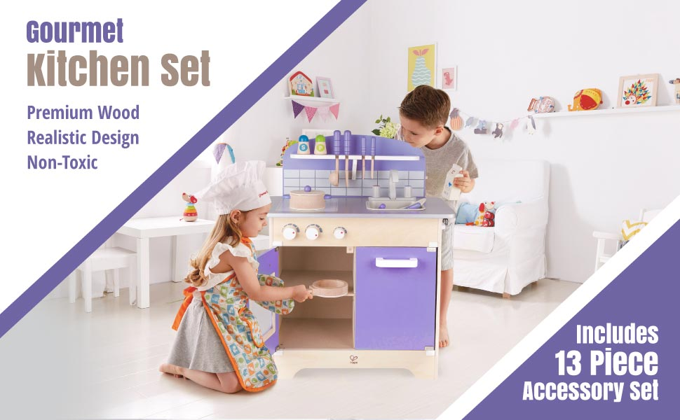 Hape Playfully Delicious Gourmet Kitchen Set With 13 Wooden Kitchen Toys  For Kids Aged 3+ (Purple)