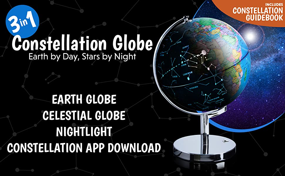 Amazon 3 in 1 illuminated world globe nightlight and with this 3 in 1 interactive illuminated globe of the world that wows in any room as a world map constellation guide and soothing gumiabroncs Image collections