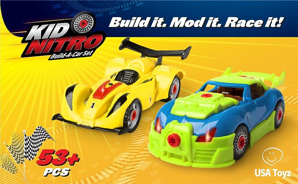Build Your Own Car >> Amazon Com Usa Toyz Race Car Take Apart Toys 52pk Build A Car