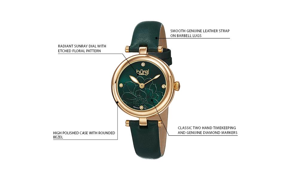 Amazon.com: Burgi Reloj de correa de cuero verde, dorado ...