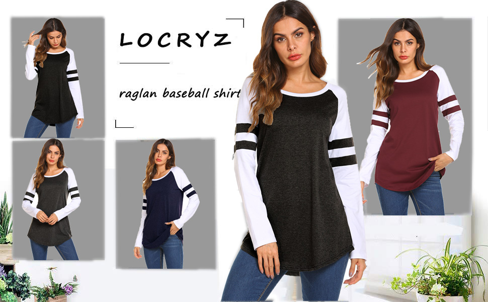 a38533e2 Locryz Women Baseball Shirt Raglan Long Sleeve Loose Color Block Tee Shirt  Tops