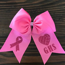 breast cancer cheer bow