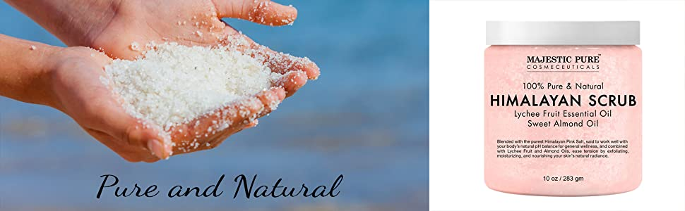majestic pure himalayan salt body face scrub natural essential oil lychee