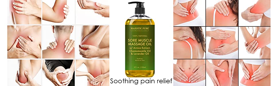 Majestic pure sore muscle massage oil all natural 100% essential oils therapeutic grade