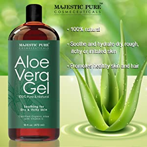 Majestic Pure Organic Aloe Vera Gel is made with cold pressed certified  organic aloe vera with no harmful chemicals, no added color, fragrance or  alcohol.