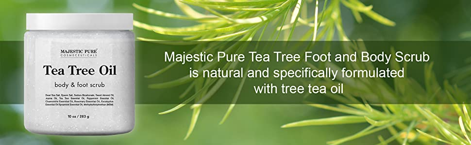Majestic pure tea tree oil body foot scrub athletes foot toenail fungus exfoliates natural treatment