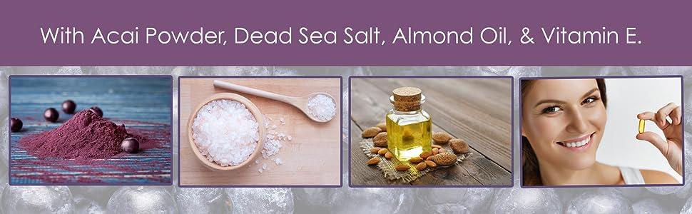 Majestic Pure acai face body scrub natural organic exfoliate moisturize
