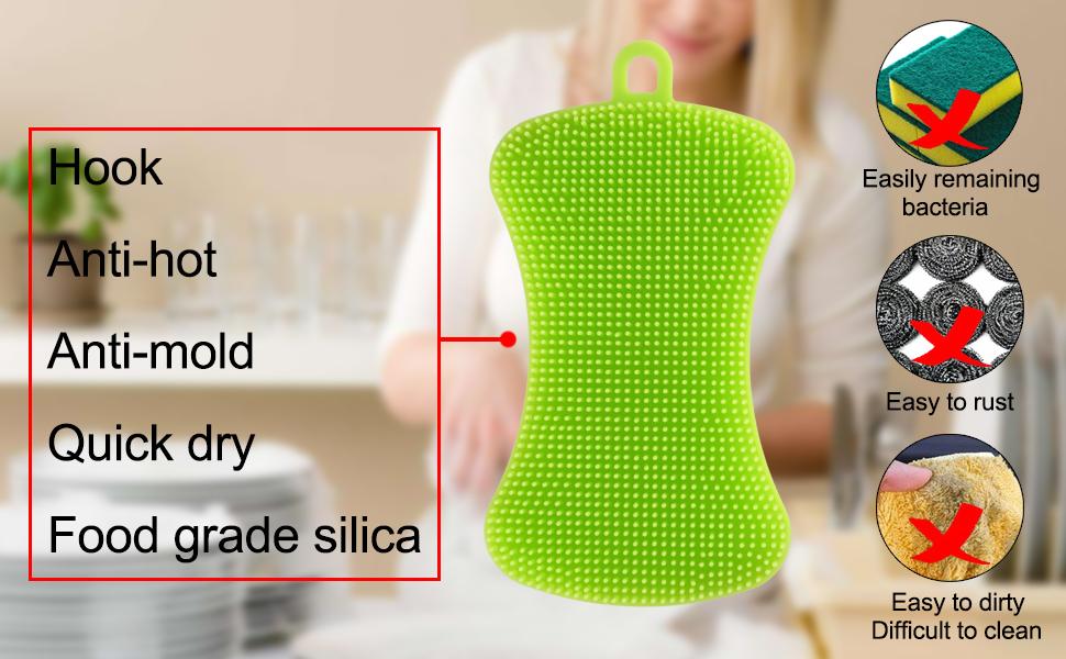 Amazon.com: Silicone Dish Sponge, HEYFIT 2Pack Multi-purpose ...