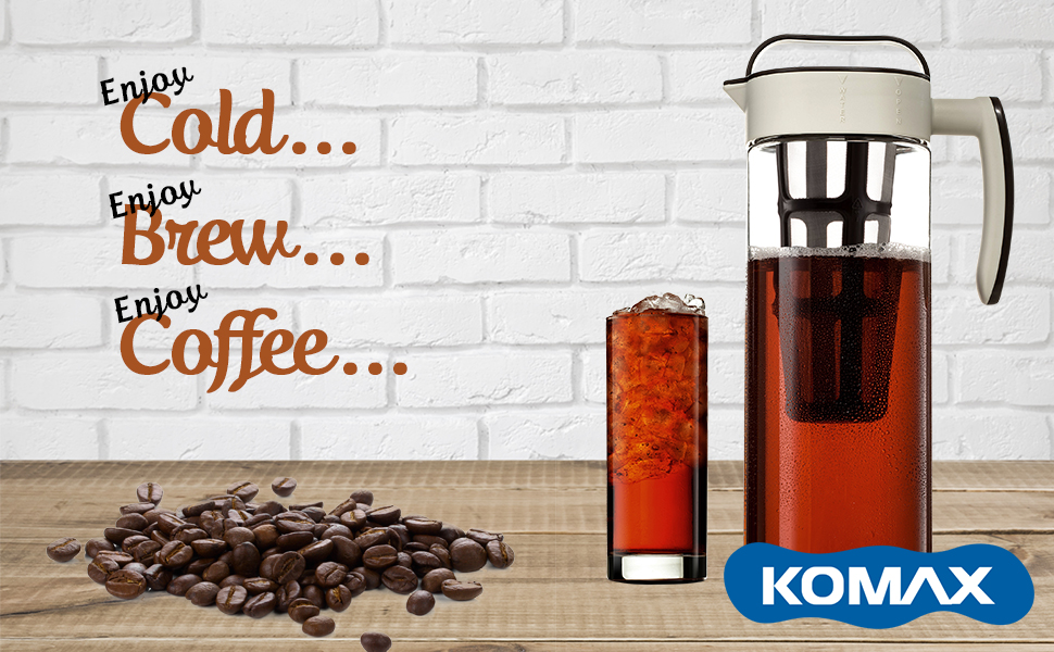 komax cold brew coffee maker large 2liter 67oz tritan pitcher bpa free with a fine stainless steel mesh infuser