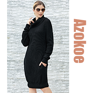 947d07b983c Azokoe Womens Casual Loose Heap Collar Mini Knit Sweater Dress with ...