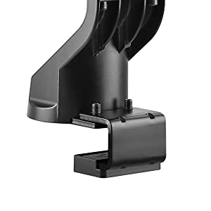 these heavy duty mechanical spring arms, c-clamp and grommet, securely lift your monitors in place.