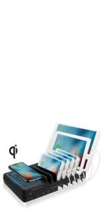 10 port wireless charging organizer qi certified