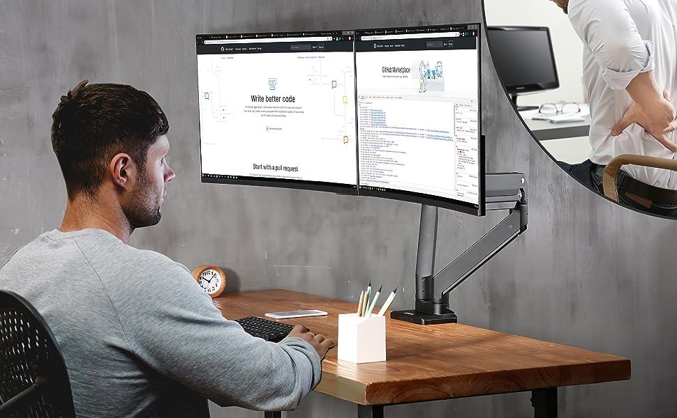 AVLT-Power Dual Monitor Desk Mount - Holds Two 13