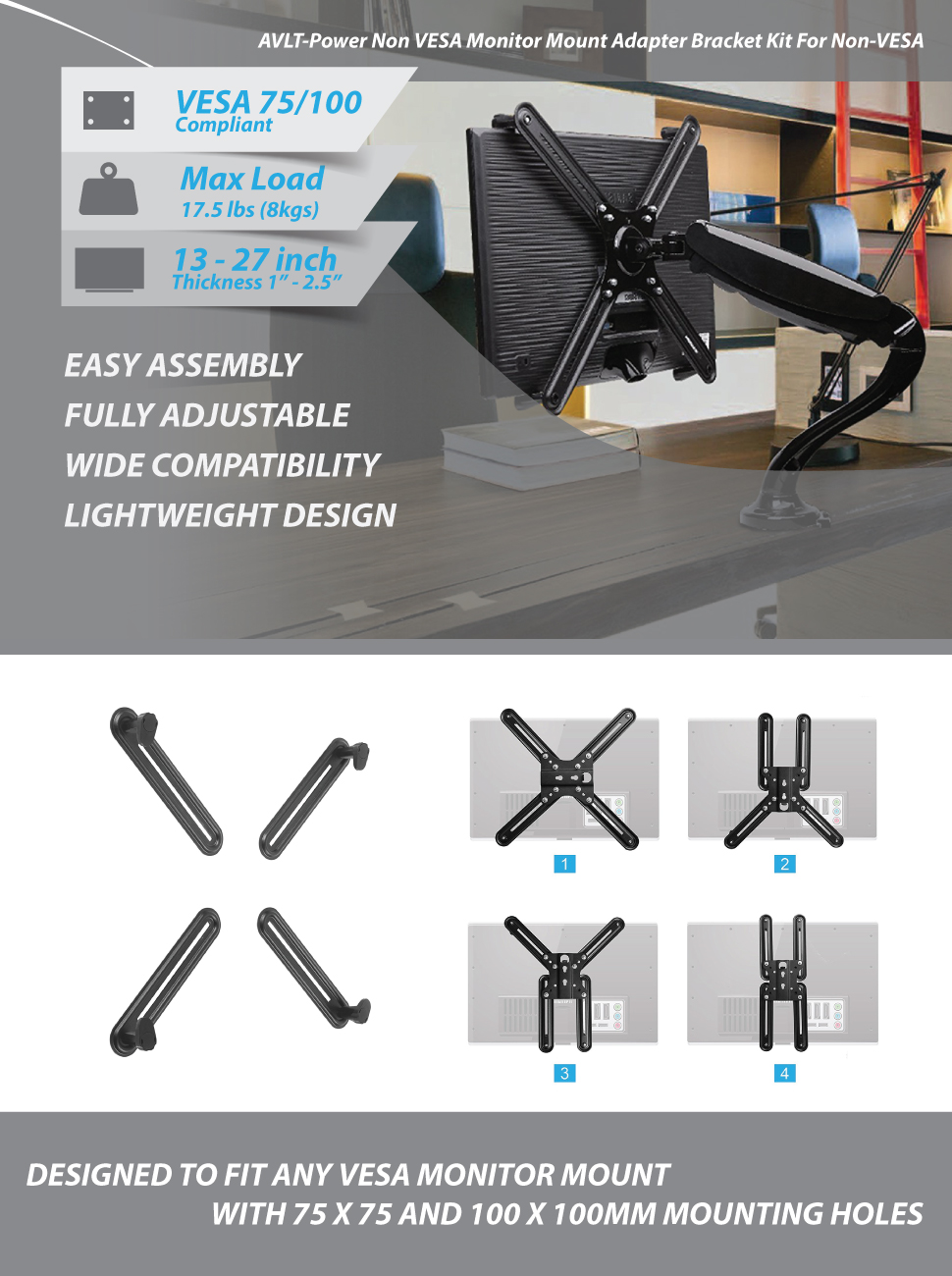 Amazon Com Avlt Power Vesa Adapter Kit Converts Non Vesa