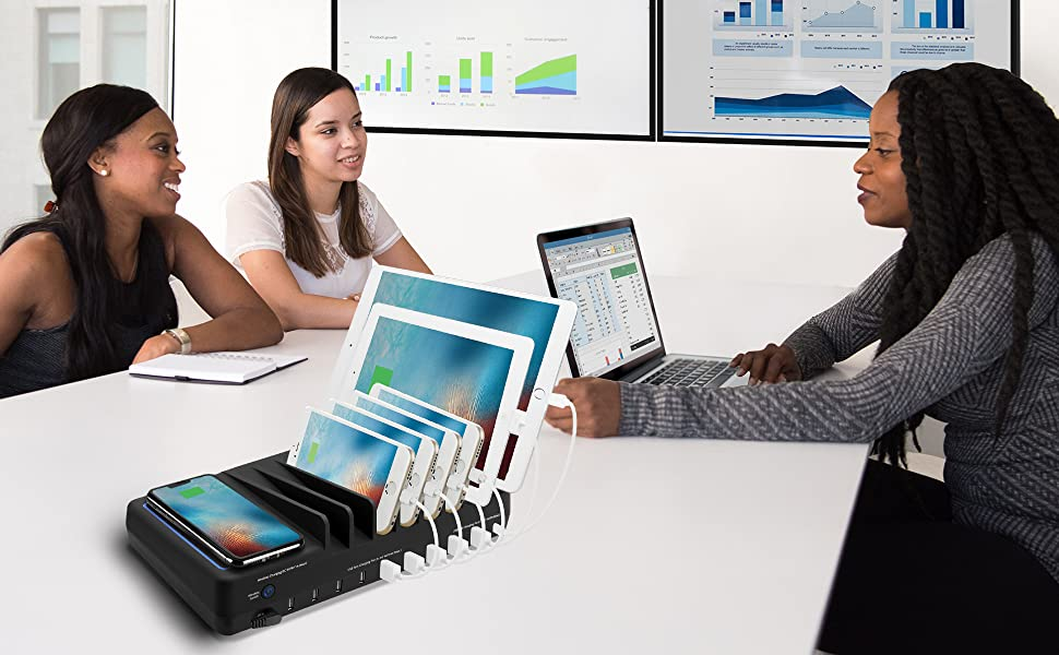 with Qi Wireless and USB C Charging Multi Device Charging Station for Tablet AVLT 90Watt 10 Port Charging Station for iPhone iPad /& Other Apple Devices Smartphone /& More Gadgets