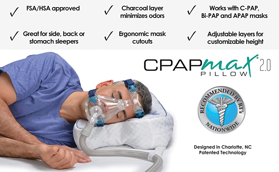 CPAP benefits include fsa and hsa approved, charcoal layer that minimizes odors, adjustable layers