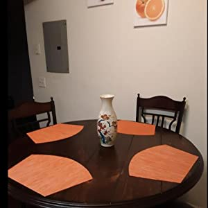 Round Table Orange.Shacos Round Table Placemats Set Of 4 Wedge Placemats Heat Resistant Table Mats Wipe Clean 4 Orange