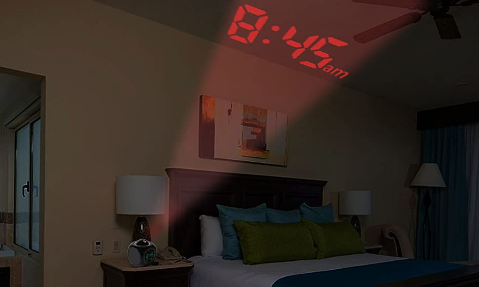 This LED Projection Clock Supports Display The Current Time And Temperature  And Report Via Voice. It Can Also Project The Accurate Time To Your Ceiling,  ...
