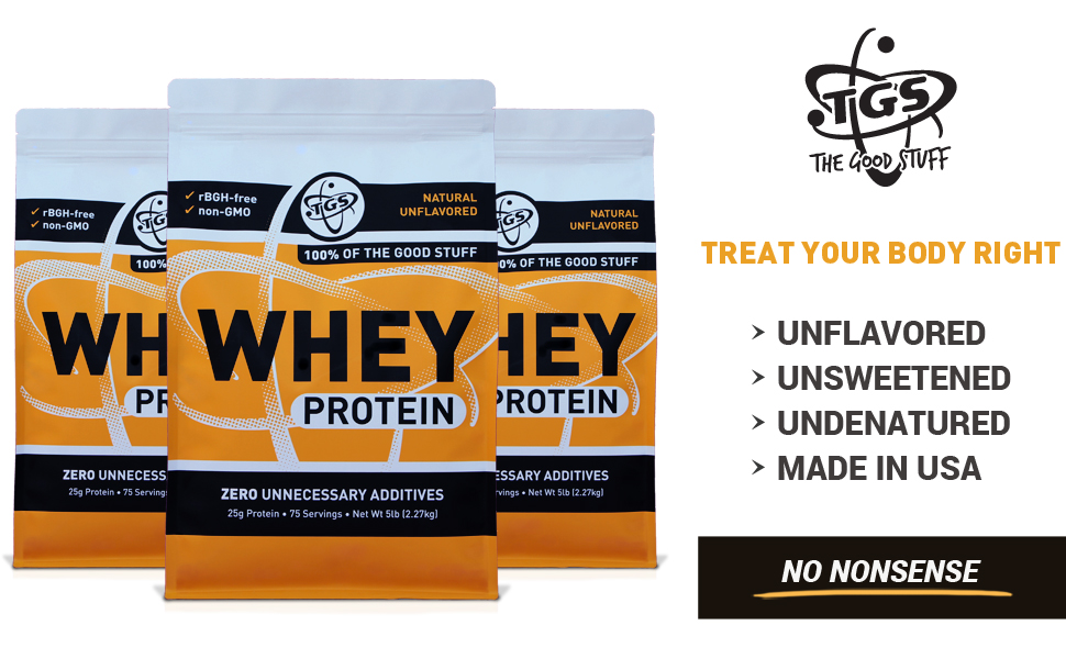 TGS 100 Whey Protein Powder 5 Pound - Unflavored, Unsweetened, Undenatured, Made in USA