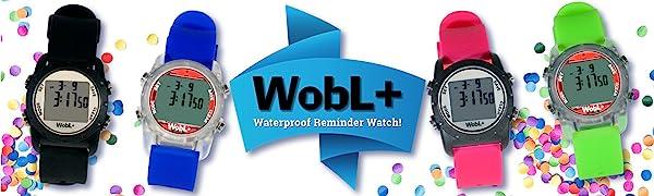 Wobl+, wobl waterproof watch, vibrating alarm reminder watch, potty watch, toilet training
