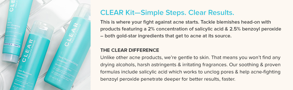 This acne skin care kit includes salicylic acid and benzoyl peroxide to stop acne and prevent acne.