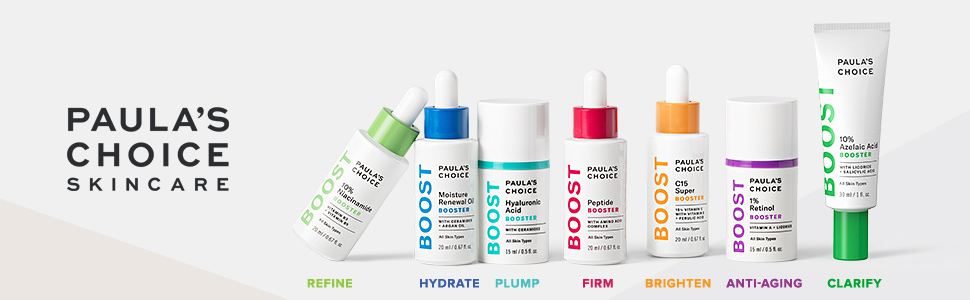Skin booster serums to refine, hydrate, plump, firm, brighten, clarify and reduce signs of aging