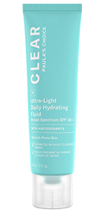 CLEAR Ultra-Light daytime moisturizer with SPF 30+ hydrates skin without clogging pores.
