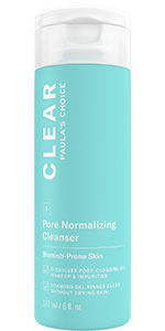 CLEAR Pore Cleanser for blemish-prone skin removes excess oil and makeup without irritating skin.