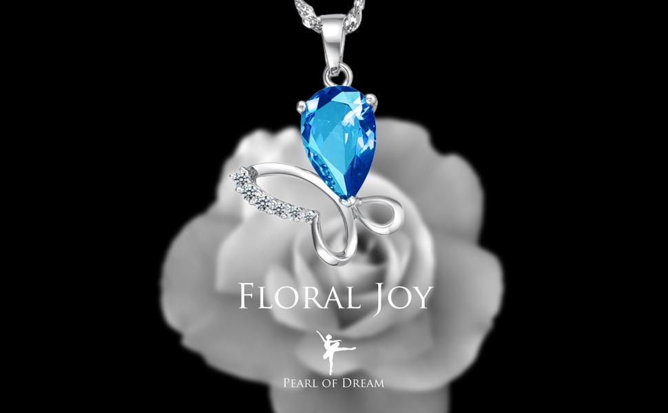 """Blue Opal /& Amethyst Flower .925 Sterling Silver Pendant 1.15/"""" long"""