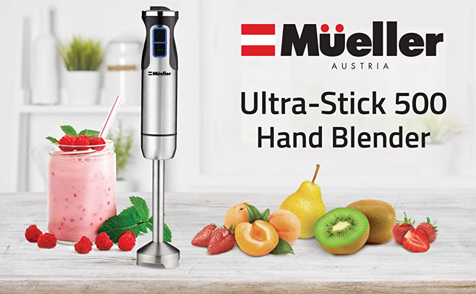 hand blender  Mueller Austria Ultra-Stick 500 Watt 9-Speed Immersion Multi-Purpose Hand Blender Heavy Duty Copper Motor Brushed 304 Stainless Steel With Whisk, Milk Frother Attachments a8640fe4 08ef 47e0 a02c 8283ce4f81be