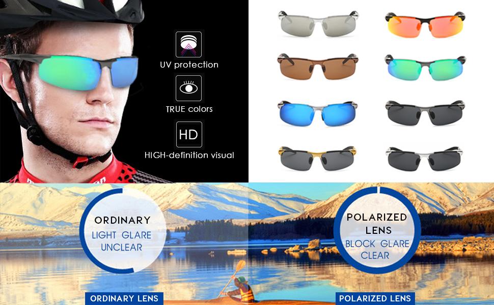 9e720511907 MOORAY Mens Sports Polarized Sunglasses UV Protection Fashion ...