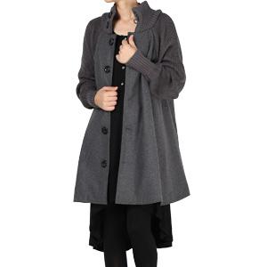 Amazon.com: Mordenmiss Women's Knit Sleeves Wool Coat