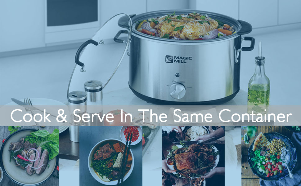 Programmable slow cooker can be used to cook and serve in the same container