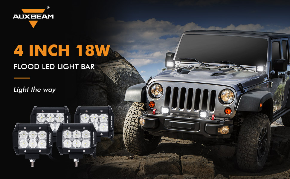 Amazon auxbeam led light bar 4 18w led pods 1800lm flood beam auxbeam 4 inch 18w flood led light bar aloadofball Gallery