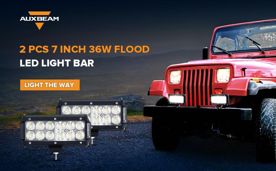 Amazon.com: Auxbeam LED Light Bar 7Inch 36W Flood CREE Led Off Road ...