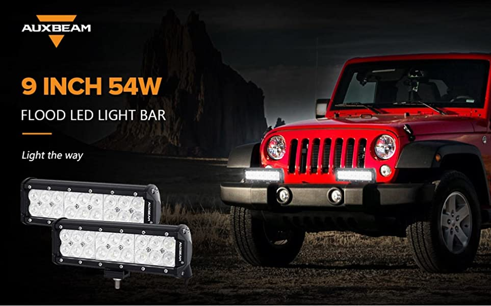 Amazon auxbeam led light bar 9 inch 54w led light pods off road auxbeam 9 inch 54w flood led light bar 2 pcs mozeypictures Choice Image